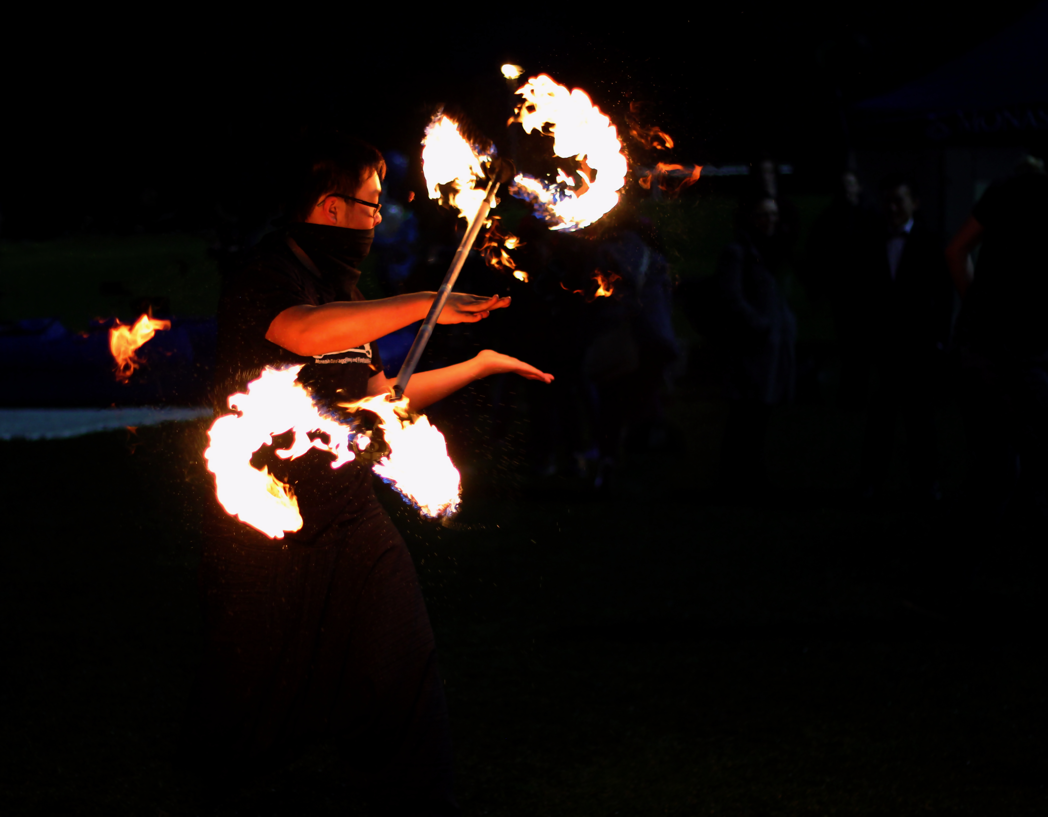 Monash Club of Juggling and Fire Twirling shows off his talents