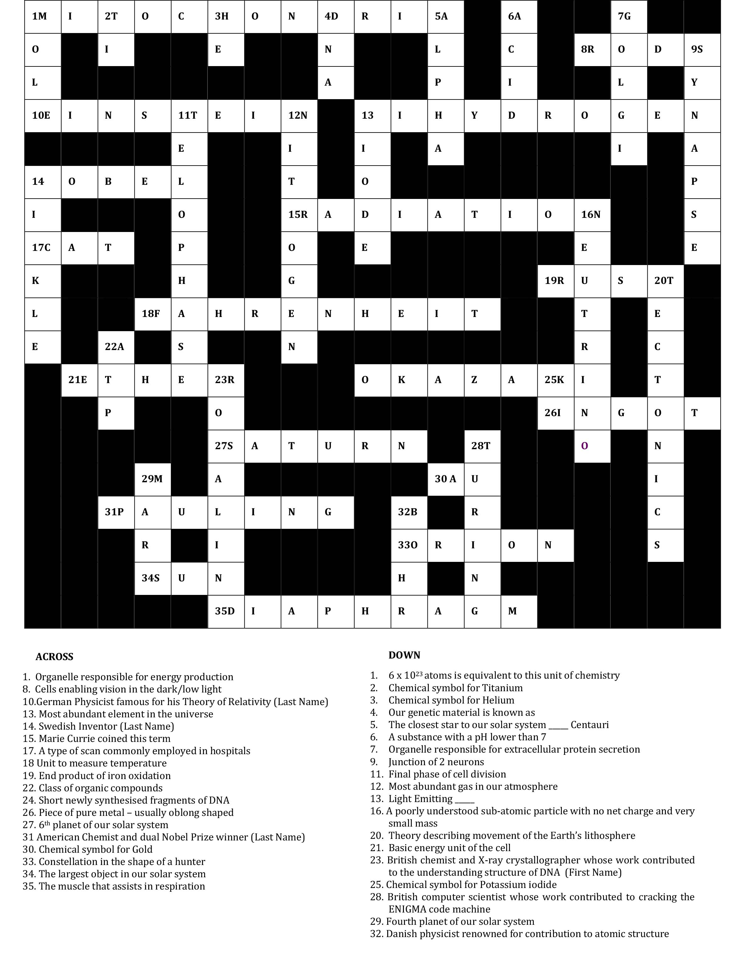 Crossword Answers for Website